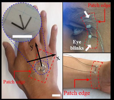 Nano-ink-based sensors detect an eye blink