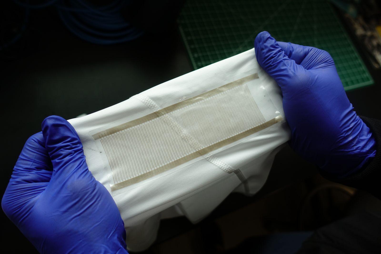 Stretchable electronics on a white shirt
